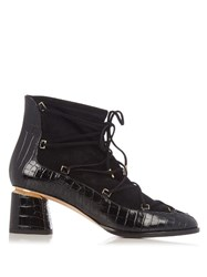 Nicholas Kirkwood Outliner Suede And Leather Ankle Boots Black