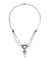 Love Heals Freshwater Pearl And Labradorite Bronze Pendant Necklace Grey