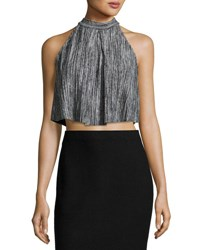 Foxiedox Cara Pleated Knit Crop Top Gray