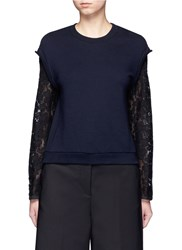 3.1 Phillip Lim Lace Sleeve Sweatshirt Blue