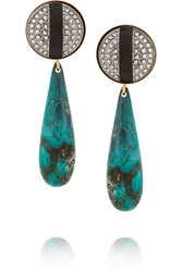 Elizabeth Cole Gold Plated Marcasite Lucite And Glass Earrings Blue