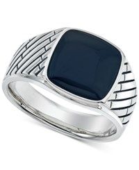 Esquire Men's Jewelry Onyx 12 X 12Mm Ring In Sterling Silver First At Macy's Black