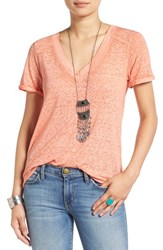 Free People Women's 'Pearls' Raw Edge V Neck Tee Peach
