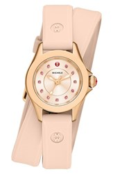Women's Michele 'Cape' Topaz Dial Double Wrap Silicone Strap Watch 27Mm Blush Rose Gold