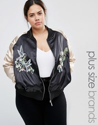 Brave Soul Plus Bomber Jacket With Contrast Sleeves And Embroidery Black Pink