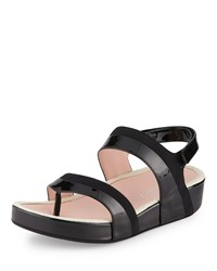 Taryn Rose Avin Patent Leather Strappy Sandal Black