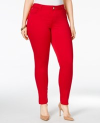 Celebrity Pink Trendy Plus Size Colored Wash Skinny Jeans Tango Red