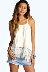 Boohoo Halter Crochet Trim Top Cream