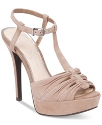 Jessica Simpson Bassie Ruched T Strap High Heel Platform Sandals Women's Shoes Totally Taupe
