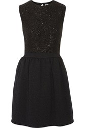 Brunello Cucinelli Sequin Embellished Cashmere And Silk Dress Gray
