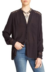 Free People Women's 'The Best' Button Front Blouse Black