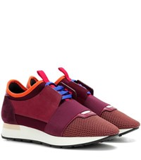 Balenciaga Race Runner Suede Sneakers Red
