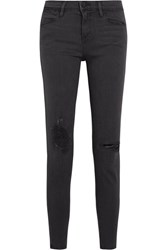 Frame Le High Skinny Distressed Jeans Charcoal