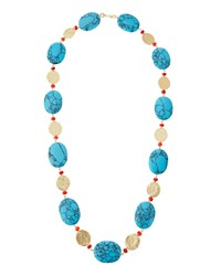 Kenneth Jay Lane Long Golden Coin And Turquoise And Coral Hue Beaded Necklace Women's