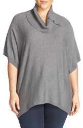 Sejour Plus Size Women's Button Cowl Neck Short Sleeve Sweater