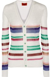 Missoni Striped Crochet Knit Cardigan White