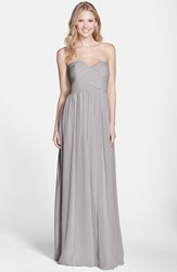 Women's Donna Morgan 'Laura' Ruched Sweetheart Silk Chiffon Gown Sterling