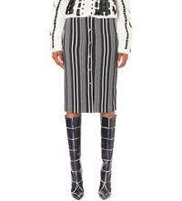 Altuzarra Balthazar Striped Stretch Crepe Skirt Black Natural White
