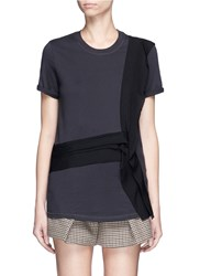 3.1 Phillip Lim Cascading Silk Ribbon Trim Cotton T Shirt Black