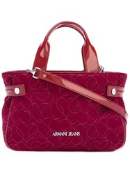 Armani Jeans Medium 'Hearts' Pattern Tote Red
