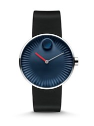 Movado Edge Stainless Steel And Rubber Strap Watch Midnight Dial