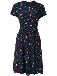 Chinti And Parker Heart Print Pleated Skirt T Shirt Dress Blue