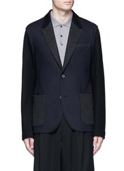 Lanvin Deconstructed Colourblock Jersey Soft Blazer Blue