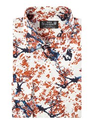 New And Lingwood Luwan Cherryblossom Printed Shirt White