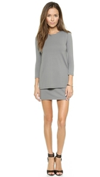 Susana Monaco Double Layer Crew Dress Pewter