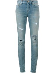 Saint Laurent Ripped Jeans Blue Denim