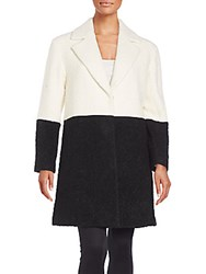 Alice Olivia Shyla Two Tone Wool Coat Cream Black