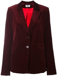 Sonia Rykiel By Velvet Effect Single Breasted Blazer Red