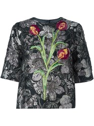 Dolce And Gabbana Tulip Floral Embroidered Top Black