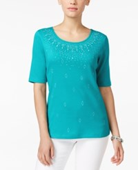Karen Scott Studded Elbow Sleeve Top Only At Macy's New Teal