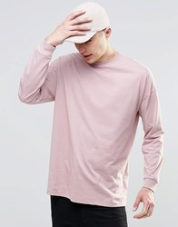 Asos Oversized Long Sleeve T Shirt In Pink Pink