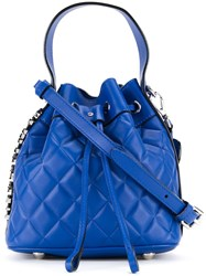 Moschino Quilted Bucket Tote Blue