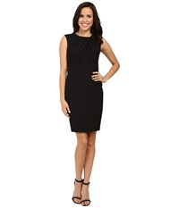 Adrianna Papell Faux Overlapping Bodice Sheath Dress Black Women's Dress