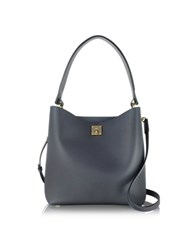 Mcm Milla Phantom Gray Leather Medium Hobo Bag Dark Gray