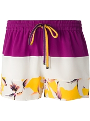 Etro Floral Print Panel Shorts Pink And Purple