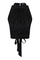 Pleated High Neck Top By Love Black