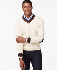 Argyle Culture Varsity Cable Knit V Neck Sweater Natural