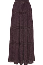 M Missoni Pleated Metallic Crochet Knit Maxi Skirt Purple
