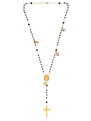 Dolce And Gabbana Onyx And Brass Rosary Necklace Gold