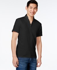 Inc International Concepts Contrast Trim Polo Only At Macy's Deep Black