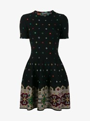 Alexander Mcqueen Floral Pattern Silk Blend Knit Mini Dress Black Multi Coloured Metallic Silver