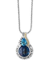 Effy Ocean Bleu London Blue Topaz 5 1 5 Ct. T.W. And Swiss Blue Topaz 3 4 Ct. T.W. Pendant Necklace In Sterling Silver And 18K Gold Silver Gol