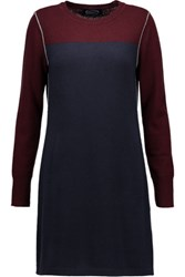 Magaschoni Two Tone Cashmere Mini Dress Navy