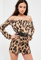 Missguided Nude Leopard Print Bardot Playsuit Brown