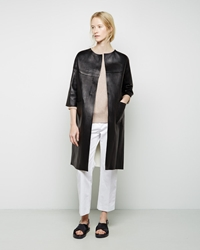Marni Leather Duster Coat Coal And Lily White
