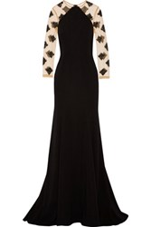 Lela Rose Beaded Tulle And Crepe Gown Black